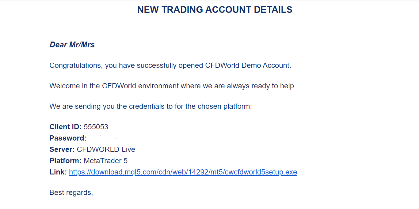 CFD world Demo e-mail