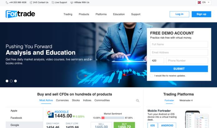 Fortrade homepage
