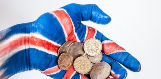 The British pound slightly stronger against the euro